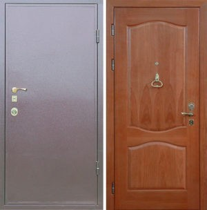 Входная металлическая дверь порошковое напыление и МДФ (шпон) СП033